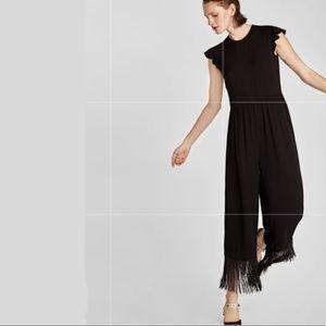 ZARA BLACK FRINGE JUMPER JUMPSUIT PANT SUIT S/M